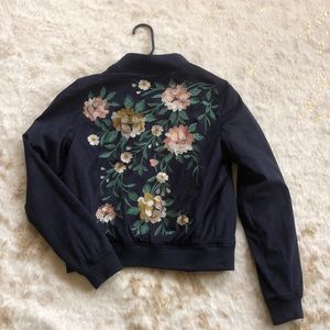 Navy Bomber / Floral Embroidered